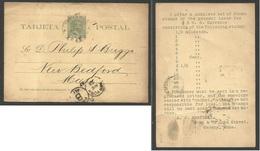 CUBA - Stationery. 1897 (28 Aug) Habana - USA, New Bedford, Mass. 2c Green/yellow Stationery Card. Via NY. Private Print - Non Classés