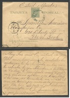 CUBA - Stationery. 1896 (13 June) Sagua - USA, NYC (21 June) 2c Green/yellow Stationery Card, Blue Cds. - Non Classés