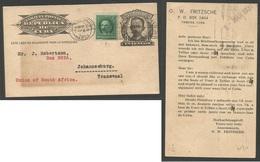CUBA - Stationery. 1931 (March 30) Habana - Transvaal, Jobug. South Africa. 1c Block Stationary Card Adtl 1c Green In Pe - Cuba