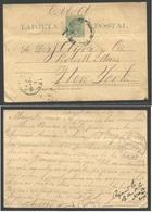 CUBA - Stationery. 1896 (13 June) Sagua Grande - USA NYC (21 June) Via Habana (17 June) 2c Green/yellowish Stationery Ca - Non Classés