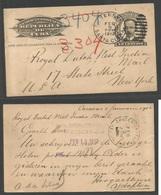 CUBA - Stationery. 1912 (Feb 9) Caracas, Terry, Santa Clara - USA, Nueva York (13 Feb). TP Entero 1c Negro, Matasellos F - Non Classés