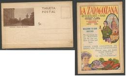 CUBA. C. 1920 La Zaragozana TP De Publicidad De Este Restaurante A Color. Muy Interesante. Bilingüe. - Non Classés