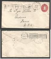 CUBA - Stationery. 1905 (29 Aug) Jaruco - USA, Andover, Mass (25 Sept). Sobre Entero Postal 2c Rojo, Mat Fechador. MB. - Non Classés