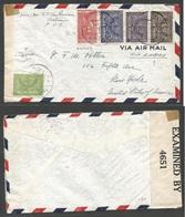 SAUDI ARABIA. 1943 (21 Feb) Bahrain - Khodan - USA, NYC. Air Multifkd Envelope + Censored. Via Lagos, Nigeria (and Brazi - Saudi Arabia