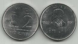 India 2 Rupees 2009. KM#368 Louis Braille - Inde