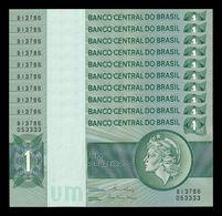 Brasil Brazil Lot Bundle 10 Banknotes 1 Cruzeiro 1980 Pick 191Ac SC UNC - Brasil