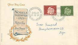 Norway 1961 Oslo Nobel Prize Peace Henri Dunant Red Cross Frederic Passy FDC Cover - Nobelprijs