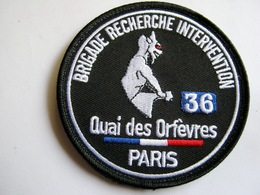 ECUSSON TISSUS POLICE NATIONALE BRI 36 QUAI DES ORFEVRES PARIS SUR VELCROS ETAT EXCELLENT - Police & Gendarmerie