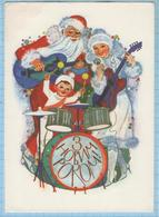 USSR / Post Card / Soviet Union / UKRAINE / Happy New Year Santa Claus. Snow Maiden. Musicians Artist Gorobievskaya 1982 - New Year