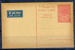 K1285- Pakistan Old & Rare 1950 Postal Stationery Four Annas Airmail Postcard. - Pakistan