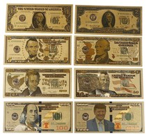 LOT DE 8 BILLETS PLAQUES COULEURS OR .  1/ 2/ 5/ 10/ 20 /50 /100 / 1000 DOLLARS . NEUFS . - United States Of America