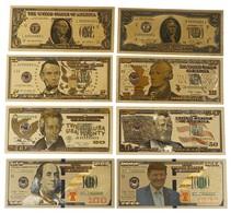 LOT DE 8 BILLETS PLAQUES COULEURS OR .  1/ 2/ 5/ 10/ 20 /50 /100 / 1000 DOLLARS . NEUFS . - Etats-Unis