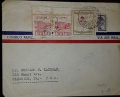 O) 1947 COLOMBIA, BAY OF SANTA MARIA SCT C136, ORCHID 5c, PALACIO DE COMUNICACIONES 1c, VIA AIRMAIL TO USA - Colombia