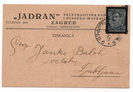 1935 YUGOSLAVIA, CROATIA, ZAGREB TO LJUBLJANA, SLOVENIA, CORRESPONDENCE CARD, JADRAN WHOLSALE - 1931-1941 Kingdom Of Yugoslavia
