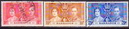 BARBADOS 1937 SG #245-47 Compl.set Used Coronation - Barbades (...-1966)