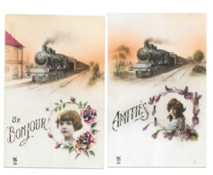 AMITIES  UN BONJOUR LOCOMOTIVE TRAIN  FANTAISIE 2 CPA - Trains