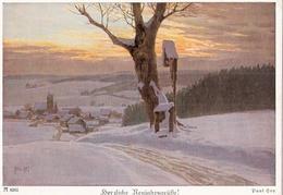 Paul Hey Ackermanns Kunst Karten Reihe 635 Kruzifix Nr. 6261 Herzliche Neujahrsgrüße Winter Schnee Ungelaufen - Hey, Paul