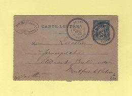 Le Luart - Sarthe - 31 Juil 1895 - Type Sage - Marcophilie (Lettres)