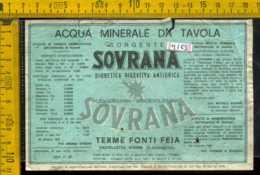 Etichetta Acqua Minerale Sovrana Fonti Feja AL (difetto) - Altri