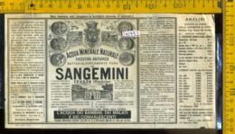 Etichetta Acqua Minerale Sangemini  Terni-Umbria - Altri