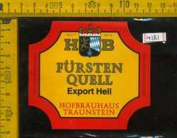 Etichetta Birra Fursten Quell Hofbrauhaus Germania - Birra
