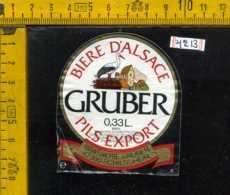Etichetta Birra Biere D'Alsace Gruber Pils Export - Francia - Birra