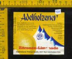 Etichetta Bibita Analcolica Zitronen-Limonade Adelholzener - Germania - Altri