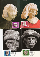 Hungary 1976 Stamps Day: Gothic Sculpture Heads (13th Century) Of The Royal Palace Buda Mi 3118-3121 Maximum Cards FDC - Ungheria