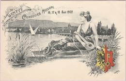 Genève (Suisse) - Concours Musical (16-17 & 18 Août 1902) (Illustration Gantner) (Recto-Verso) - GE Genf