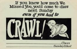 Rally Day Sunday School Invitation, 'Crawling Baby', C1920s Vintage Postcard - Christianity