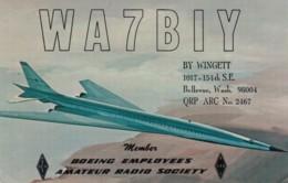 Boeing Emplyoees Amateur Radio Society, Jet Plane, Bellevue WA Radio Operator,VoA Radio Stamp C1960s Vintage Postcard - Radio Amateur