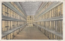 Jackson Michigan New State Prison, Cell Block #11 Interior View Of Prison C1900s Vintage Postcard - Gevangenis