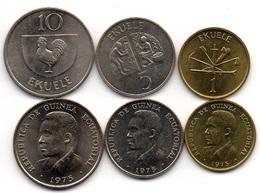 Equatorial Guinea - Set 3 Coins 1 5 10 Ekuele 1975 AUNC Lemberg-Zp - Guinée Equatoriale