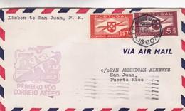 PRIMEIRO VOO CRREIO AEREO LISBOA ~ SAO JOAO OBLITEREE 1941 - BLEUP - Lettres & Documents