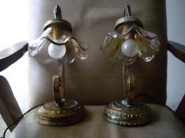 Due Abat-jour In OTTONE Massiccio Ottimo Stato Funzionanti - Bronzes
