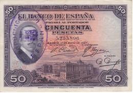 BILLETE DE ESPAÑA DE 50 PTAS DEL AÑO 1927  CON RESELLO DE LA REPUBLICA ESPAÑOLA EN EBC (XF) (BANKNOTE) - 50 Pesetas