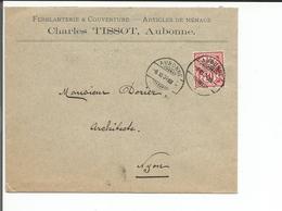 Lettre Suisse, Charles Tissot, Ferblanterie & Couverture, Aubonne - Nyon CH (6.11.1904) - 1882-1906 Armoiries, Helvetia Debout & UPU