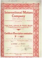 Titre Ancien - International Motors Company -  Société Anonyme - Titre De 1937 - Automobile