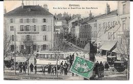 Cpa Epinal - Rue De La Gare Et Rond Point Des Bons - Enfants - Epinal