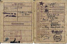 TICKET De RATIONEMENT      CARTE INDIVIDUELLE    D' ALIMENTATION  De 1946 - Historical Documents