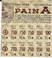 TICKET De RATIONEMENT  .  CARTE  DE  PAIN  A    De 1948 - Historical Documents