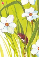 Mouse On Flower Meadow - Daffodils - Red Cross - Postal Stationery - Suomi Finland - Postage Paid - Finlande