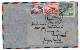 1958 CHILE, SANTIAGO TO BELGRADE, AIR MAIL COVER - Chile