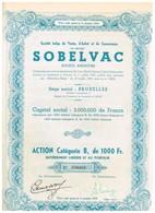 """Titre Ancien - Société Belge De Vente, D'Achat Et De Commission """" SOBELVAC"""" Société Anonyme - Titre De 1950 - Automobile"""
