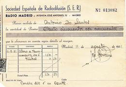 Espana      Recibos  De Rádio Madrid  -1951 + 2 Recibos De Algeciras - Spain