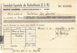 Espana      Recibos  De Rádio Madrid  -1951 + 2 Recibos De Algeciras - España