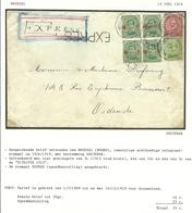 137+138+152 Op Brief Per EXPRES Met Telegraafstempel BRUXELLES (NORD) - 1918 Rotes Kreuz