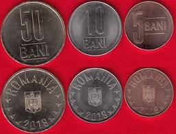 Romania Set Of 3 Coins: 5-50 Bani 2019 UNC - Romania