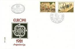 YUGOSLAVIA  1981 EUROPA CEPT   SET FDC /zx/ - 1981