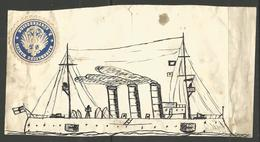 """CHILD'S DRAWING. UN-NAMED GERMAN NAVAL VESSEL. ATTACHED IS A LETTER SEAL FOR IMPERIAL NAVY COASTAL AREA 3. PRE 1918. 4"""" - Nautique & Maritime"""